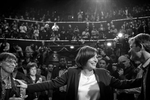 March 13, 2014.  PARIS, FRANCE- Mayoral candidate Anne Hidalgo greets friends and supporters at her big rally at Paris' historic Cirque d'Hiver.  For the first time in France's history, Paris will have a woman as a mayor - either Socialist Anne Hidalgo or Center-Right Nathalie Kosciusko-Morizet.  Photo by Scout Tufankjian