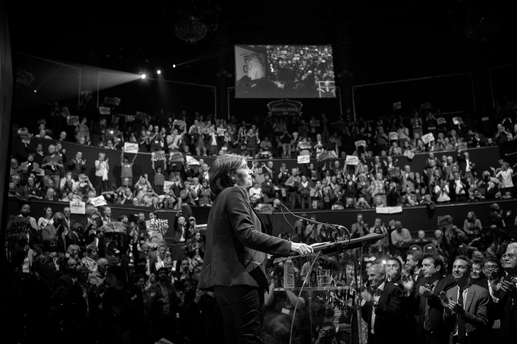 March 13, 2014.  PARIS, FRANCE- Mayoral candidate Anne Hidalgo speaks at her big rally at Paris' historic Cirque d'Hiver.  For the first time in France's history, Paris will have a woman as a mayor - either Socialist Anne Hidalgo or Center-Right Nathalie Kosciusko-Morizet.  Photo by Scout Tufankjian