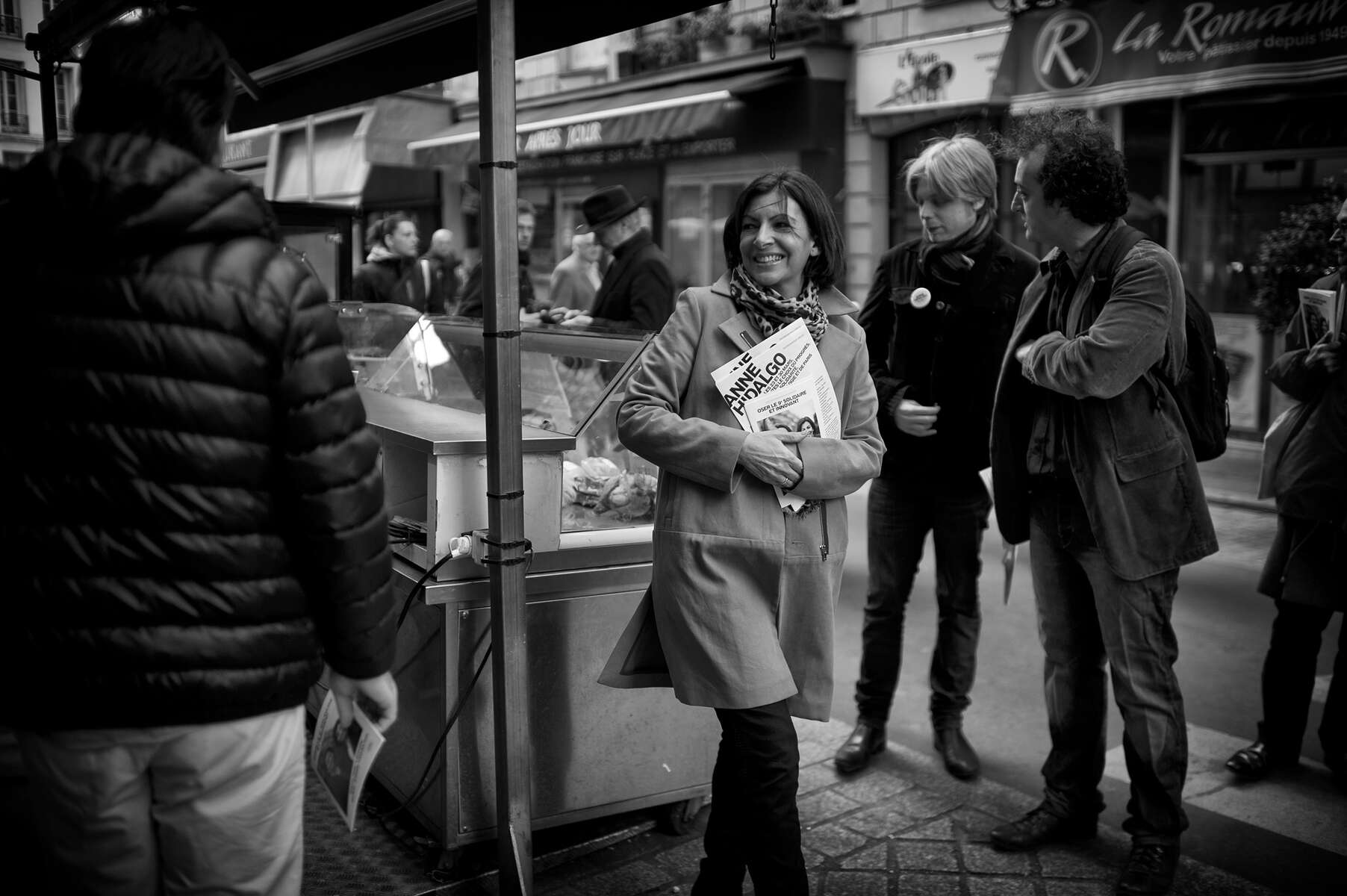 March 15, 2014.  PARIS, FRANCE- Mayoral candidate Anne Hidalgo chats with potential voters in Paris' 9th Arrondissement.  For the first time in France's history, Paris will have a woman as a mayor - either Socialist Anne Hidalgo or Center-Right Nathalie Kosciusko-Morizet.  Photo by Scout Tufankjian