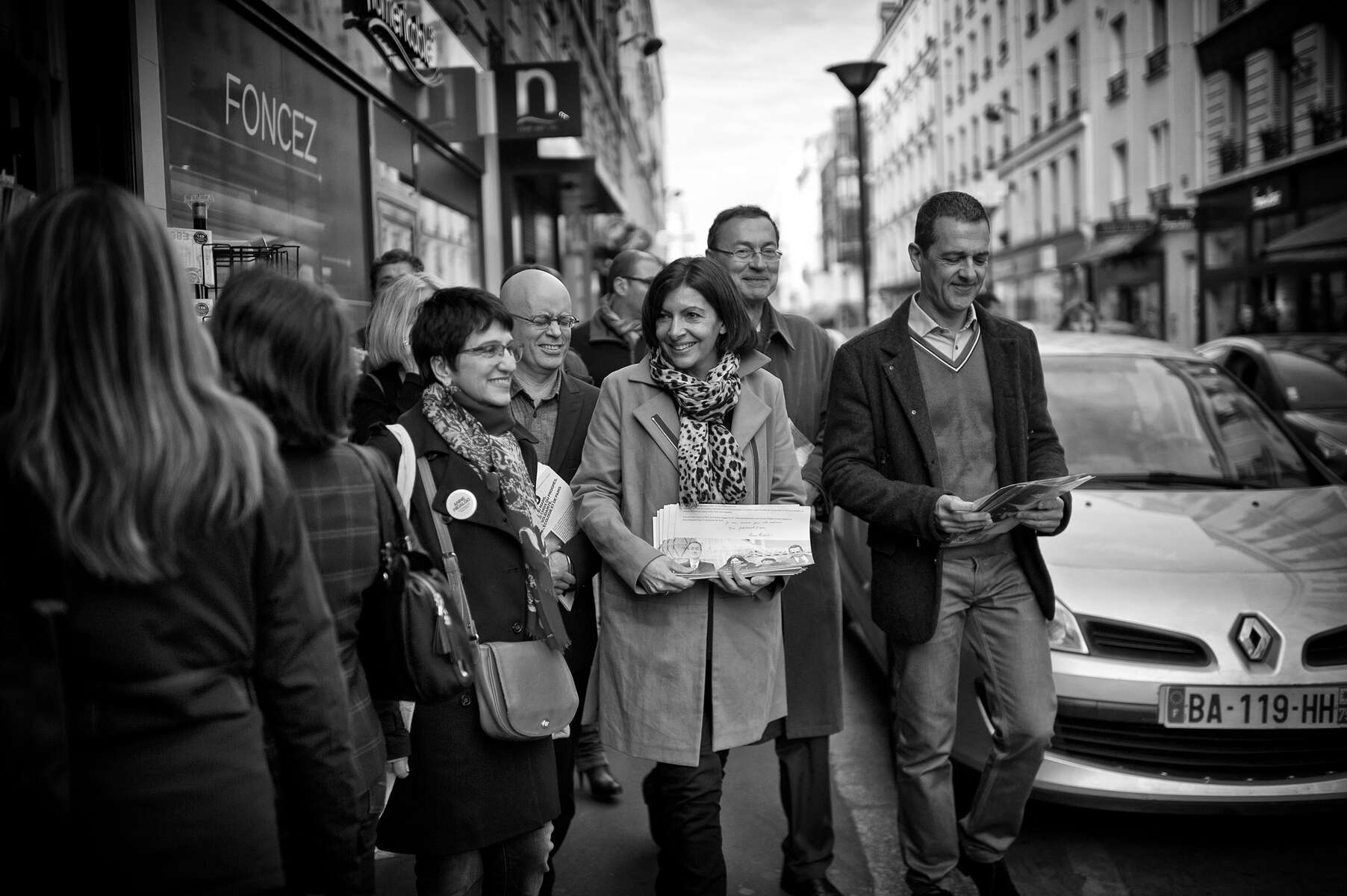 March 15, 2014.  PARIS, FRANCE- Mayoral candidate Anne Hidalgo chats with voters in her home district of the 15th arrondissement.   For the first time in France's history, Paris will have a woman as a mayor - either Socialist Anne Hidalgo or Center-Right Nathalie Kosciusko-Morizet.  Photo by Scout Tufankjian