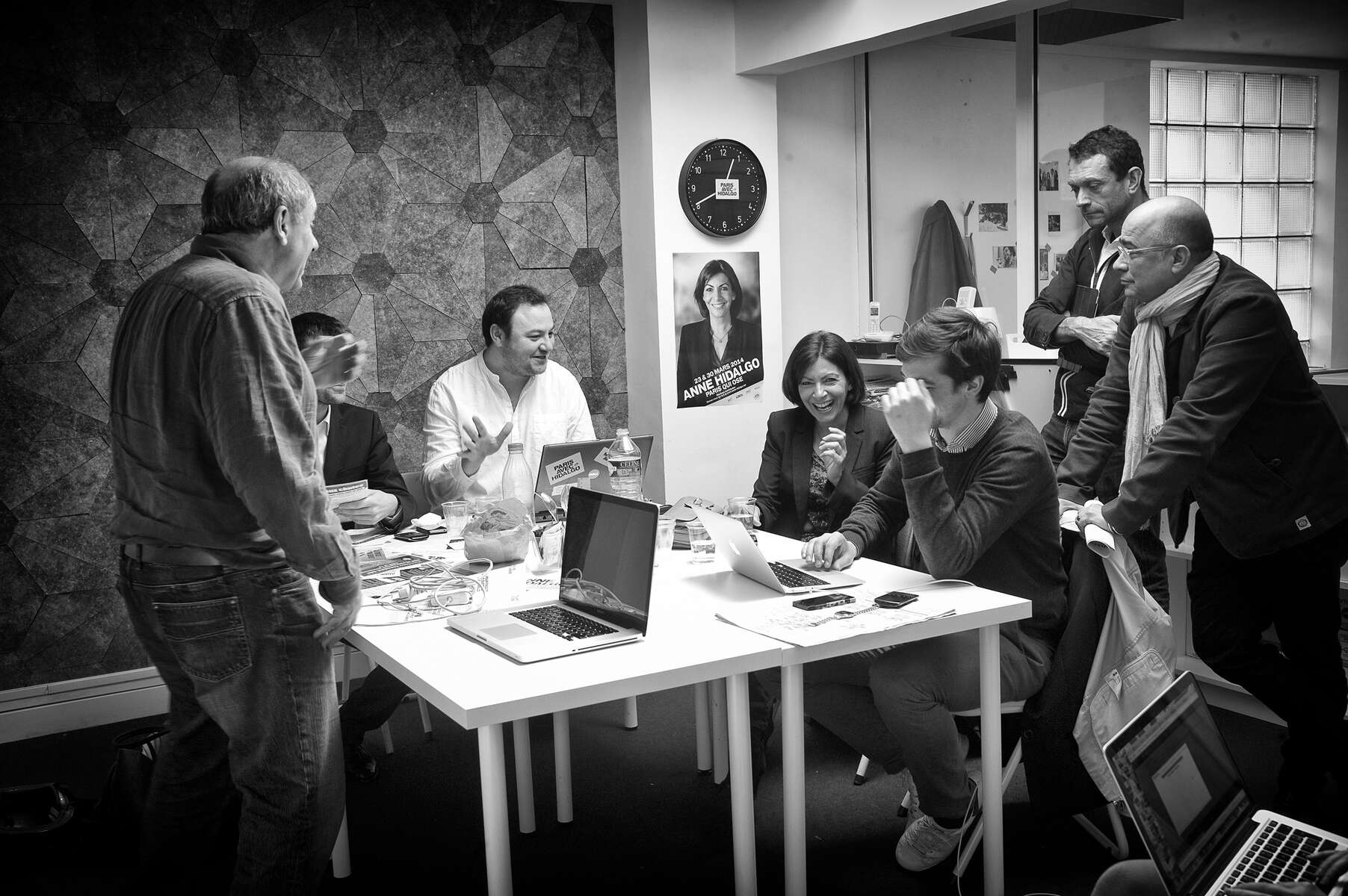 March 16, 2014.  PARIS, FRANCE- Anne Hidalgo meets with her senior staff in the conference room of her headquarters in Paris' Bastille neighborhood before a press conference on Paris' pollution problem.   For the first time in France's history, Paris will have a woman as a mayor - either Socialist Anne Hidalgo or Center-Right Nathalie Kosciusko-Morizet.  Photo by Scout Tufankjian