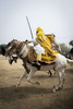 Mustafa Abba, younger brother to the Emir of Kano, Muhammed Sanusi II, races his horse outside the palace in Kano, Nigeria