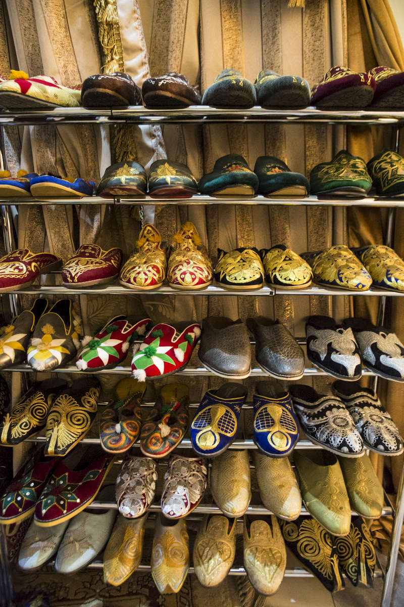 Part of the shoe collection of the Emir of Kano, Muhammed Sanusi II, in Kano, Nigeria