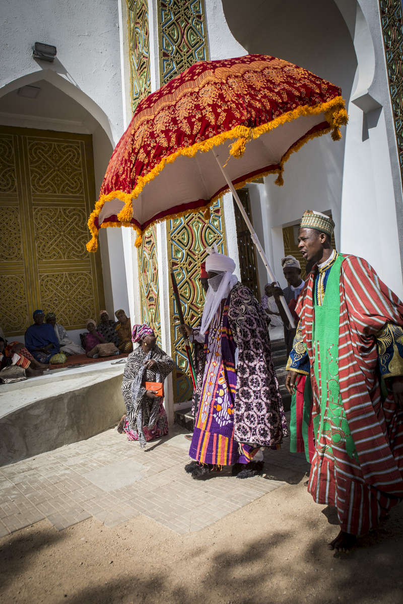 The Emir of Kano, Muhammed Sanusi II, walks toward the outer palace in Kano, Nigeria