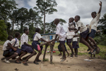 Students play on the playground at the Passama Public School in Gbarnga, Bong County, Liberia
