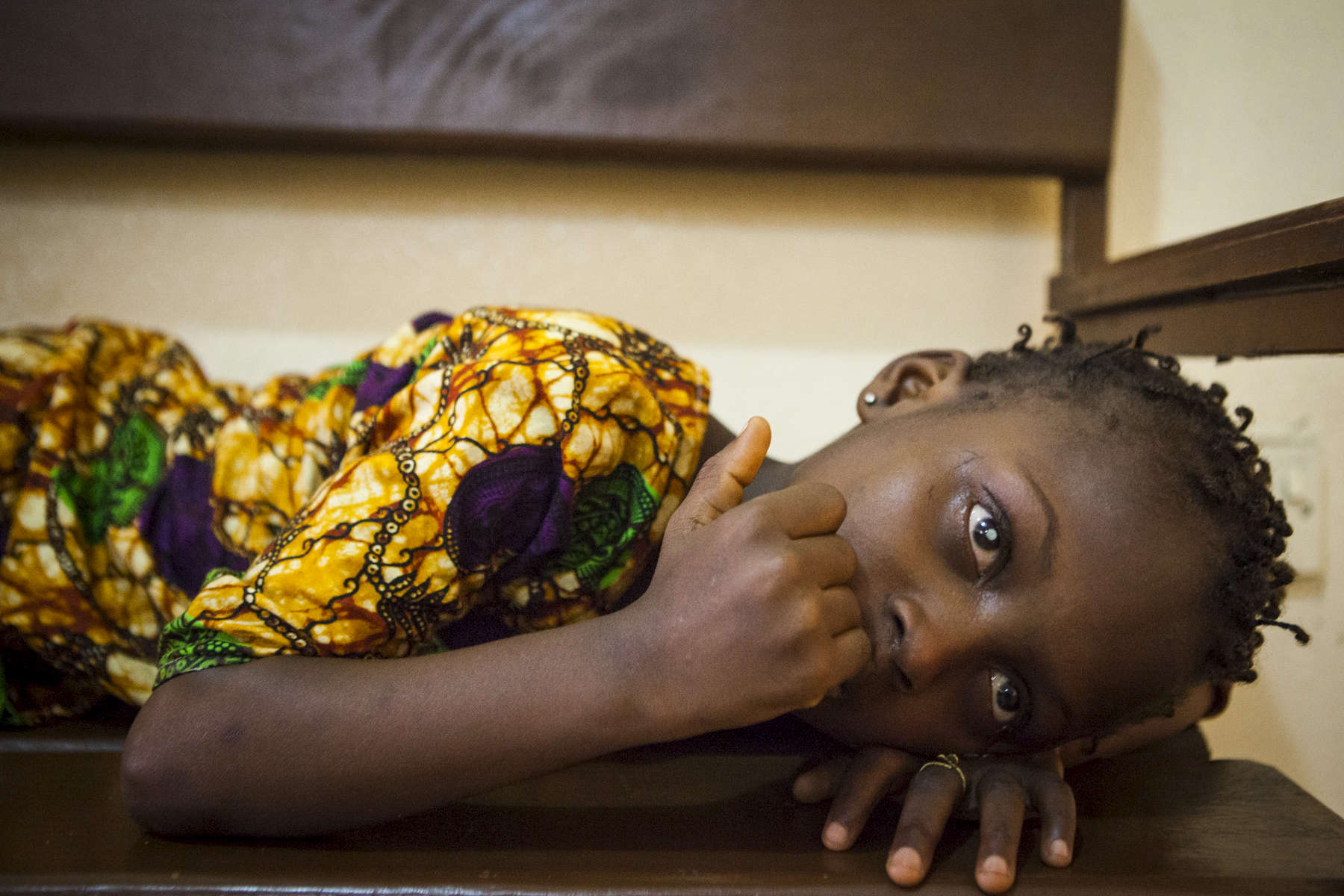 Aminata Conteh, 8, waits for her cataract surgery at the Kissy United Methodist Church Eye Hospital in Freetown, Sierra Leone.