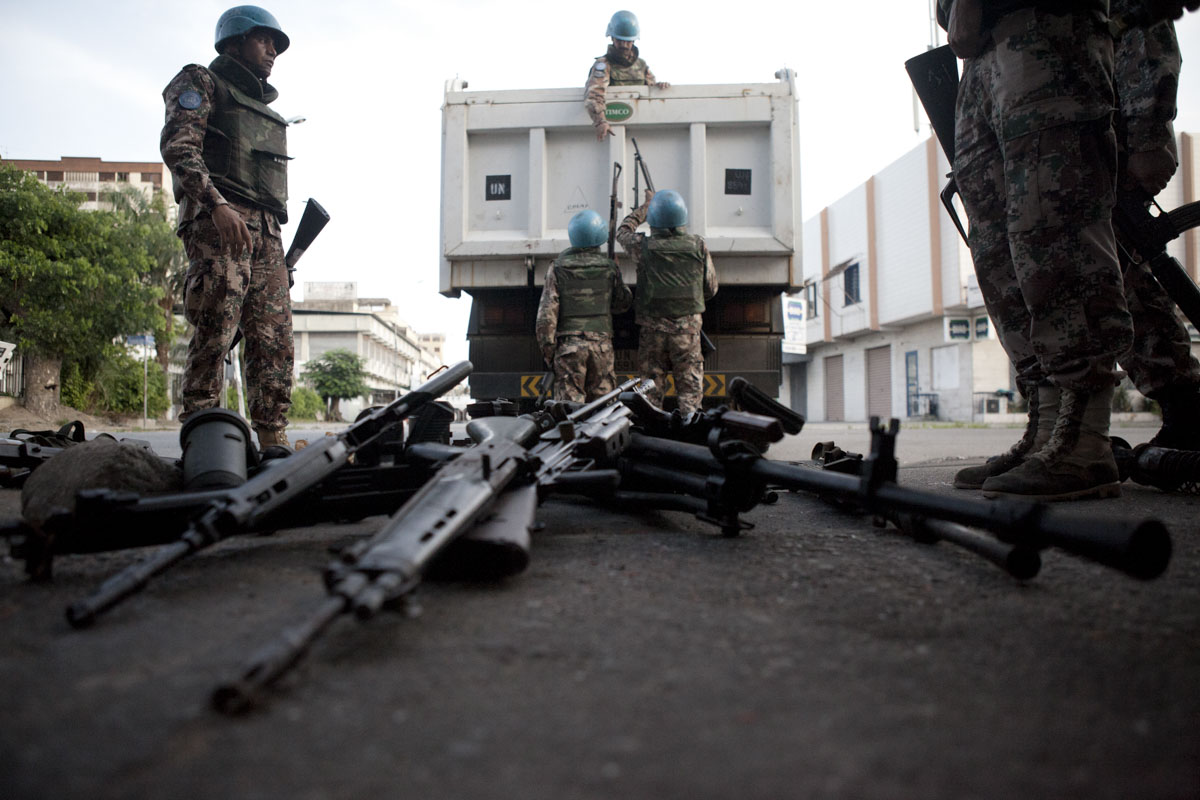 Jordanian UN Peacekeepers remove weapons from Laurent Gbagbo's Republican Guard Headquarters in Treichville a neighborhood in Abidjan, Ivory Coast in April 2011. After months of post election violence, Laurent Gbagbo finally ceded power to Alassane Ouattara with the aid of French and UN forces allied with the FRCI.