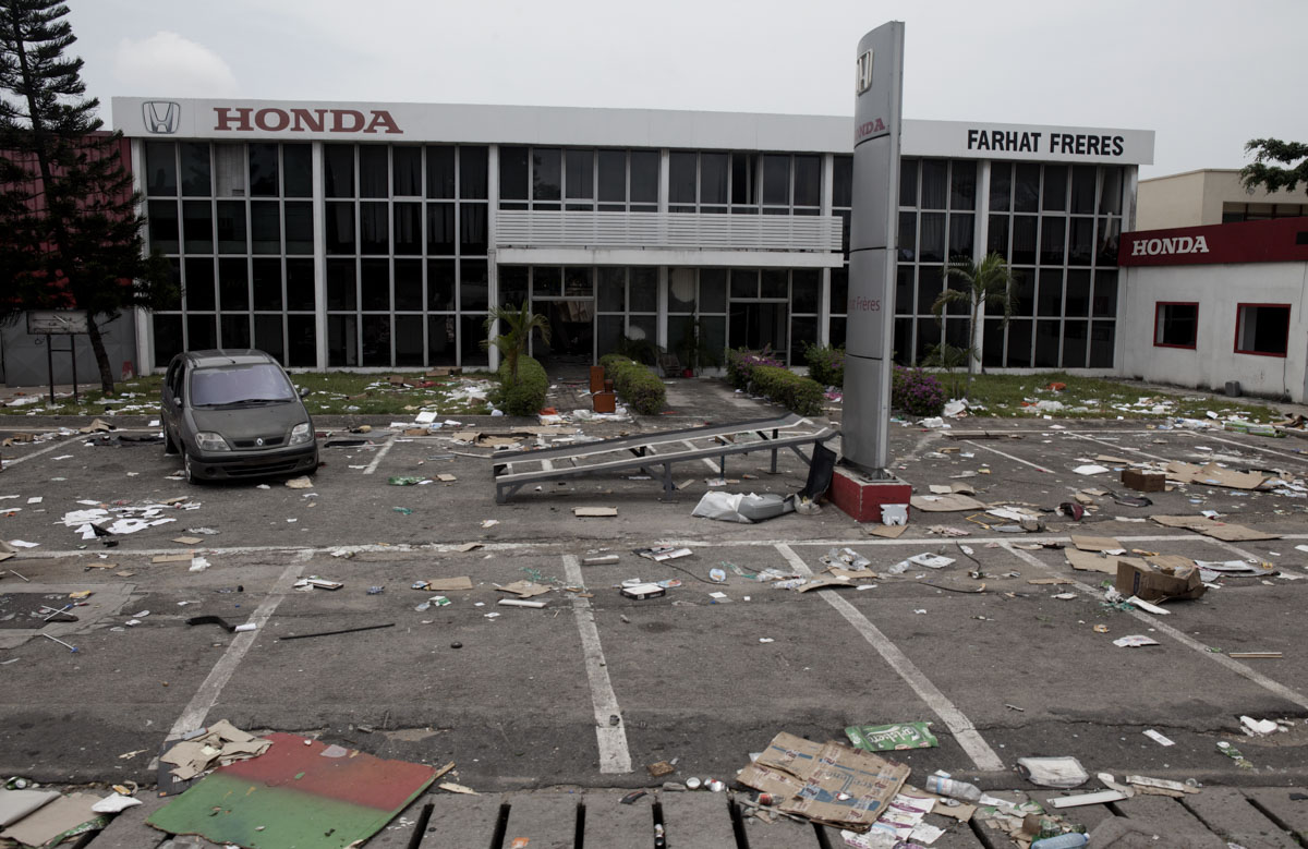 The looted Honda offices in Abidjan, Ivory Coast in April 2011. Fierce fighting continues between forces loyal to the internationally recognized president Alassane Ouattara and Laurent Gbagbo loyalists as Gbagbo continues to refuse to step down.