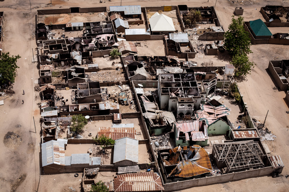 An aerial view of Gwoza, Nigeria after the Nigerian military regain control of the town from Boko Haram in April 2014.