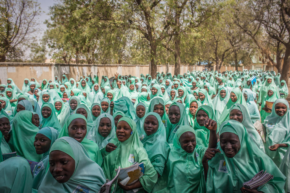 School girls exit a teachers college in Maiduguri, Nigeria