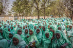 School girls exit a teachers college in Maiduguri, Nigeria