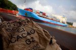 empty sacks of cocoa sit on the docks of san pedro, ivory coast