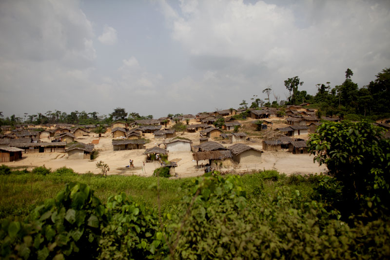 A small village of cocoa farmers outside of san pedro, ivory coast.  As one of the world's top producers of cocoa, the export of the bean has been severely impacted by the crisis.
