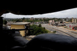 the view from a un peacekeeping outpost over the empty streets of attecoube- abidjan, ivory coast