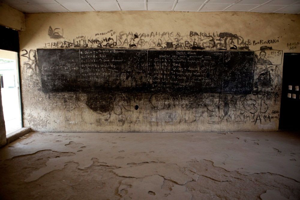 A computer lesson remains on the blackboard of a classroom at the Ali Alyaskari Primary School in Maiduguri, Nigeria in March 2013. The Ali Alyaskari Primary School, already lacking funds for supplies, esp. desks for students, was attacked by Boko Haram in late March 2013.