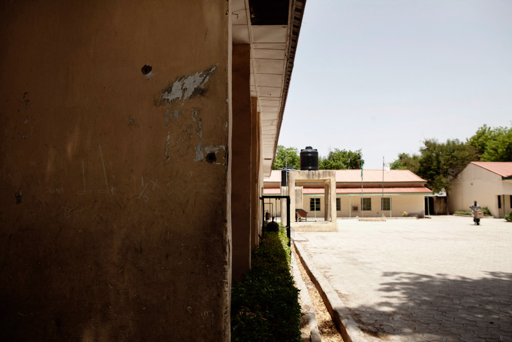 Bullet holes mark a building at the Mafoni Day Secondary School, which was attacked by Boko Haram in late March, in Maiduguri, Nigeria. 2013