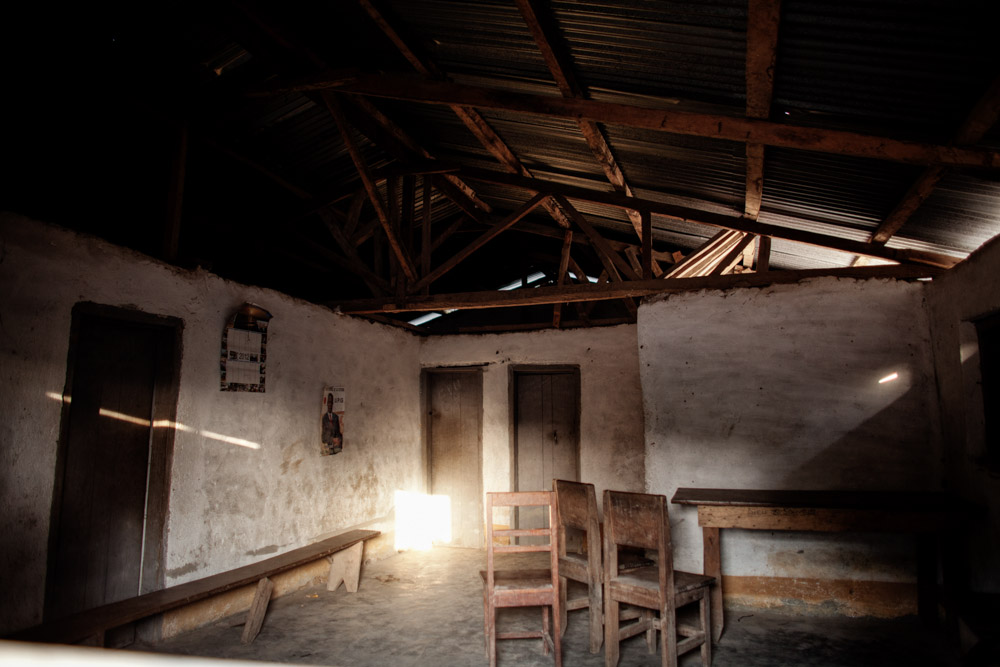 The abandoned health clinic in Meliandou, Guinea on January 25, 2015.