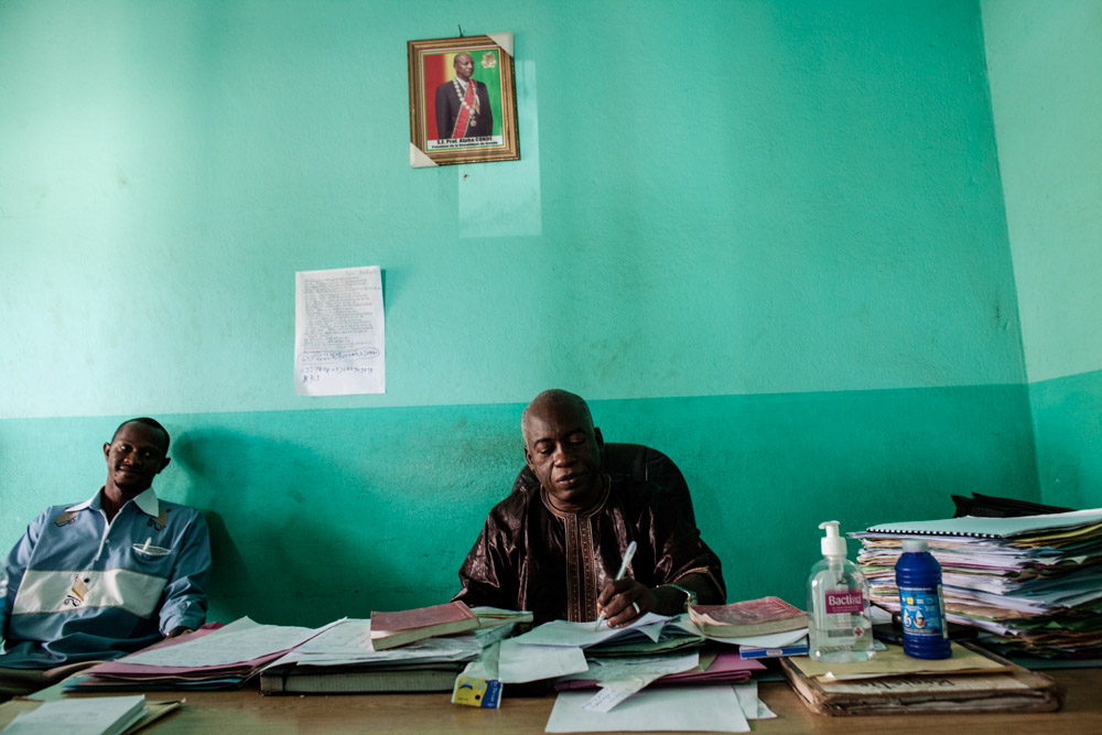 Abdoulaye Sampou, Prosecutor of Nzerekore, in his office in Nzérékoré, Guinea on January 23, 2015. Sampou is responsible for the governments prosecution of those who killed eight people while trying to educate people about Ebola awareness in Womey, Guinea on September 16, 2014.