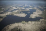 An aerial view of the islands of Lake Chad, Chad