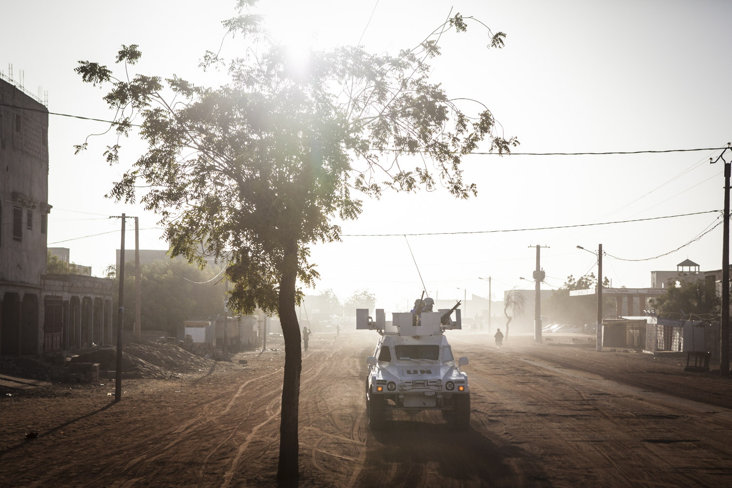 Gao, Mail- UN Peacekeepers from Senegal on an early morning patrol in Gao, Mali on Sunday, January 15, 2017. Despite the end of the occupation, many Malians find that security is still a major issue speaking of incidents of car jacking and looting. Even though crime is high, most of the deadly attacks that occur are against the United Nations Minusma mission, Malian soldiers and the French military. (Jane Hahn for the Washington Post)