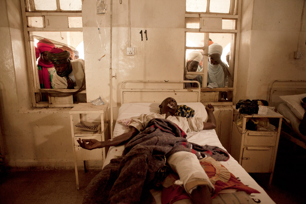 A man wounded by recent bomb blasts carried out by Boko Haram, receives treatment at the Murtala Mohammed Hospital in Kano, Nigeria. 2012