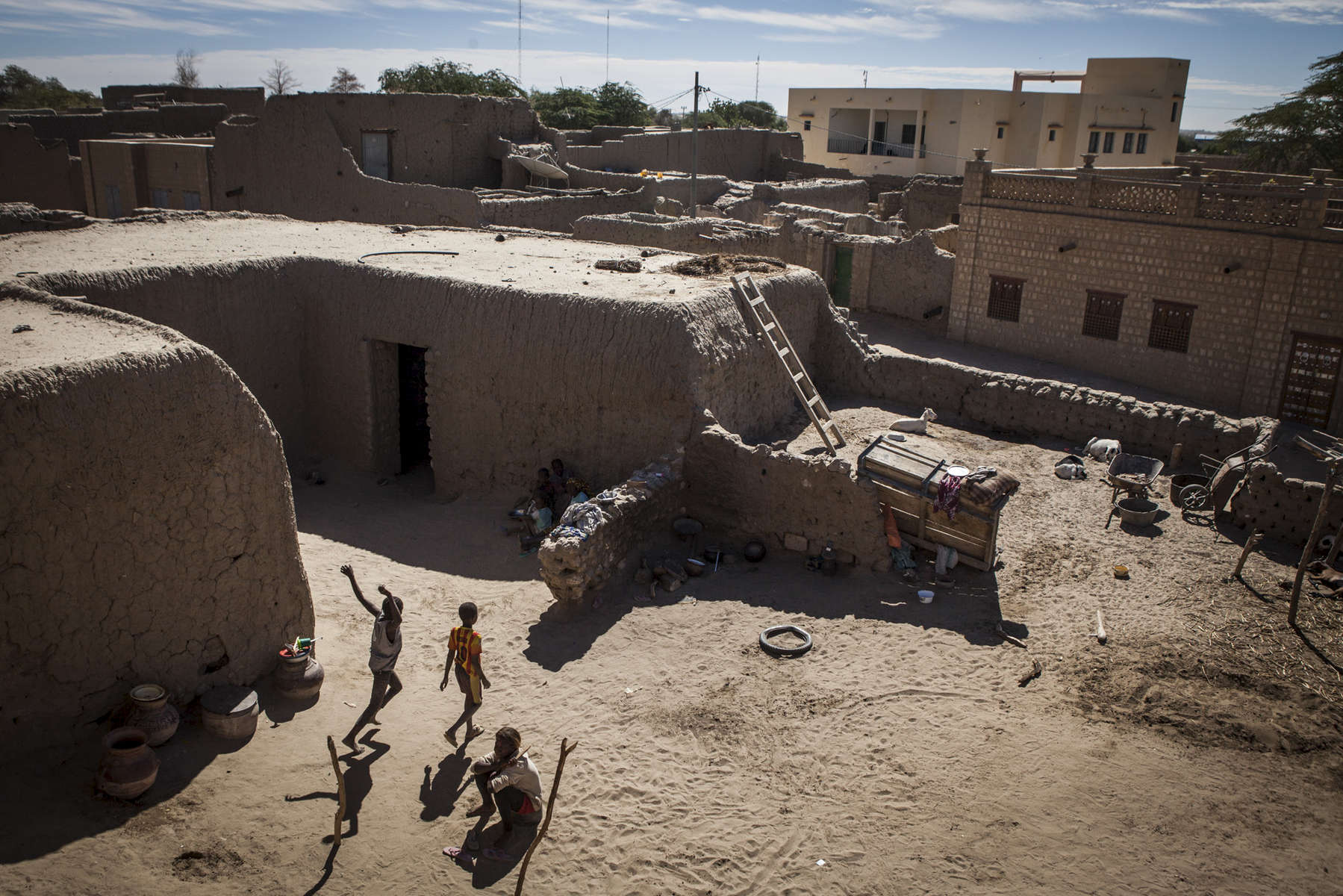 Children play in a courtyard  in Timbuktu, Mali on Wednesday, January 11, 2017.