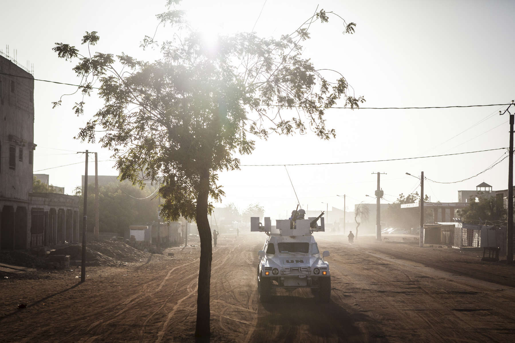 UN Peacekeepers from Senegal on an early morning patrol in Gao, Mali on Sunday, January 15, 2017. Despite the end of the occupation, many Malians find that security is still a major issue speaking of incidents of car jacking and looting. Even though crime is high, most of the deadly attacks that occur are against the United Nations Minusma mission, Malian soldiers and the French military.