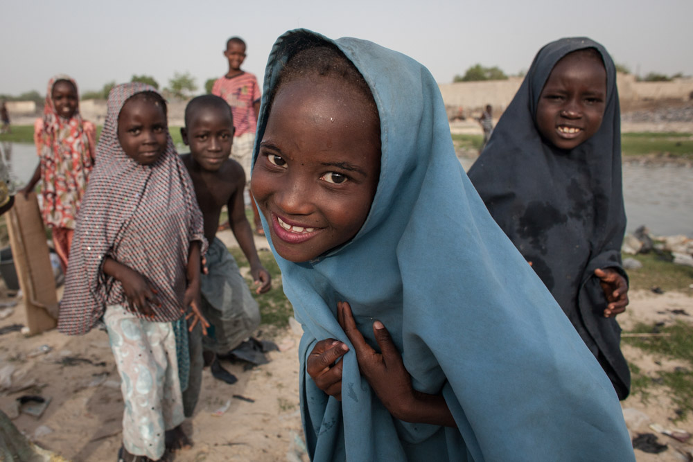 Children play by the river in Maiduguri, Nigeria