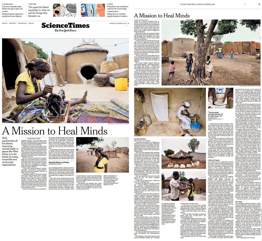 In West Africa, A Mission to Save Minds (link)New York TimesOctober 11, 2015