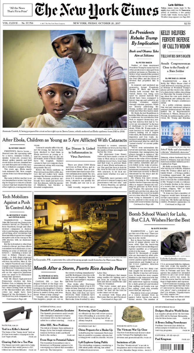 Ebola's Legacy: Children with Cataracts (link)New York TimesOctober 19, 2017