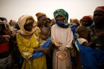 Women gather to greet officials in Dalli, Niger