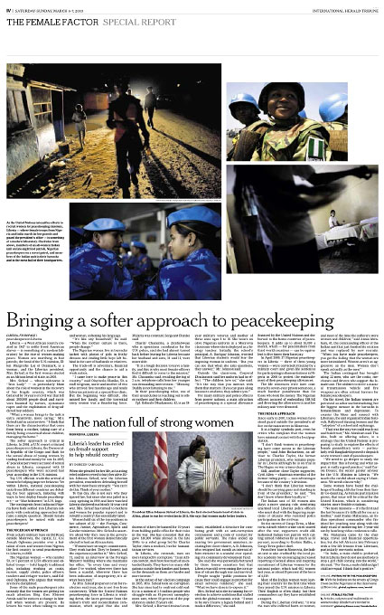 Female Peacekeepers, LiberiaInternational Herald Tribune Sunday, March 7, 2010slideshow