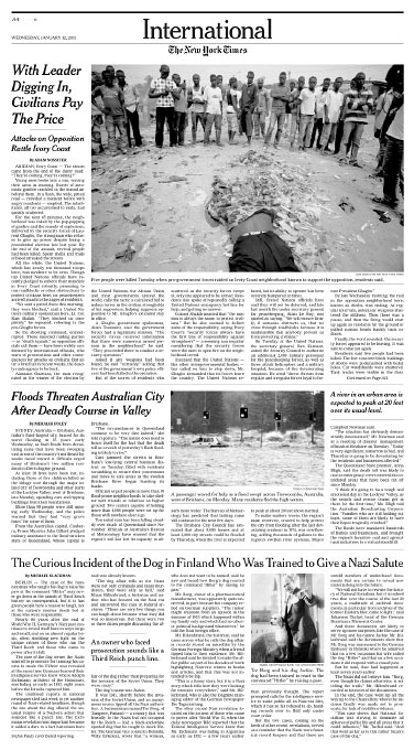 Cote d'Ivoire Post Election CrisisNew York TimesJanuary 12, 2011