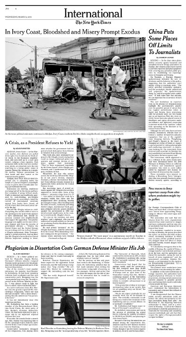 Cote d'Ivoire Post Election CrisisNew York TimesMarch 02, 2011