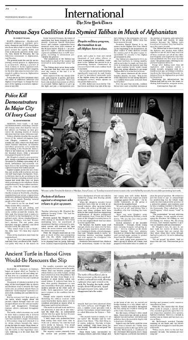 Cote d'Ivoire Post Election CrisisNew York TimesMarch 09, 2011