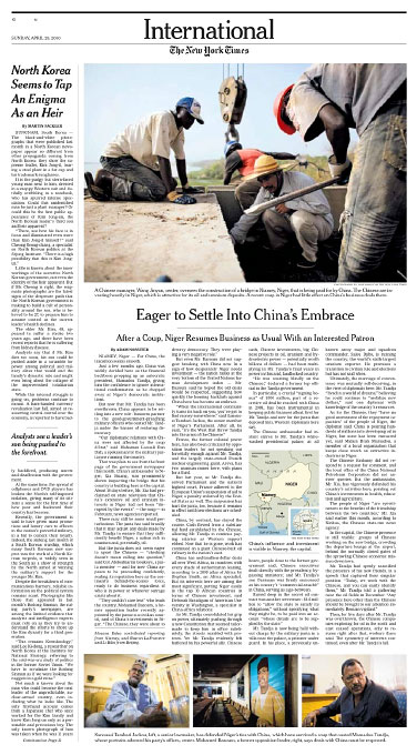 Chinese Investment in NigerNew York Times Sunday, April 25, 2010