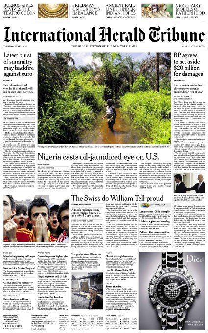 Niger Delta, Nigeria Oil SpillsInternational Herald TribuneSunday, June 17, 2010slideshow