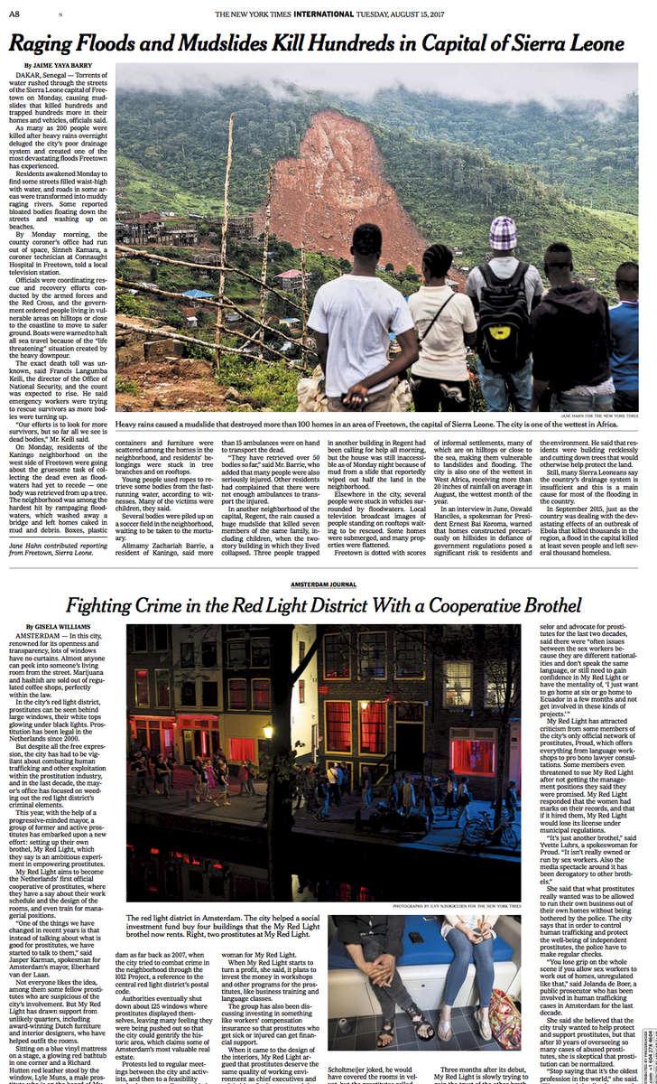 Freetown, Sierra Leone Mudslide (link)New York TimesAugust 14, 2017