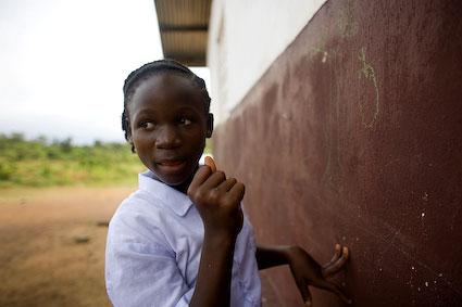 Janet Cooper, 12, studentt at the Jemima Wilson School in Bomi, Liberia