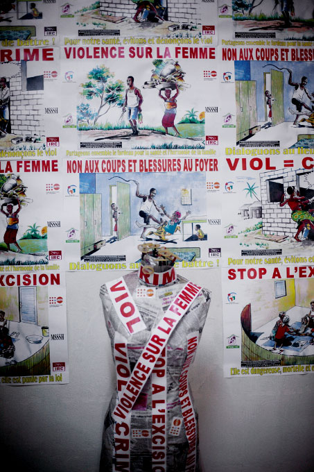 a display against the violence of women in bouake, cote d'ivoire