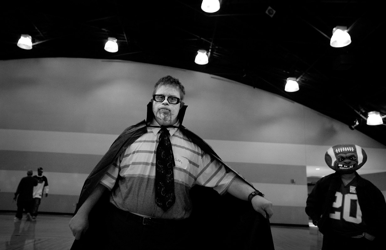 Gary Olson, 56, dressed as legendary horor maestro Bela Lugosi, during Halloween Hop for adults with disabilities.