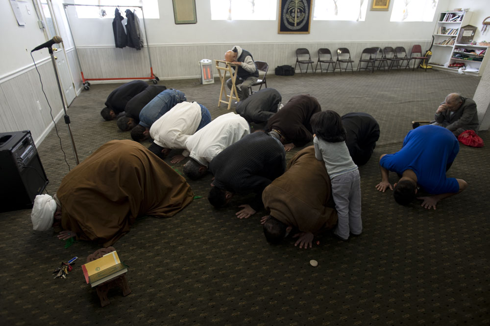Members of the Muslim community, many of whom are Iraqi refugees, pray at the Karbalaa Islamic Education Center in Dearborn. Michigan is home to the largest Middle Eastern community in the United States, including many Iraqis who came to the US in the 1980s and 90s as a result of the Iran-Iraq War and the aftermath of the 1991 Gulf War. As a result, many of the Iraqi refugees being resettled in the U.S. today are drawn to the Detroit area due to family, cultural and religious ties.  Dearborn, MI, USA.