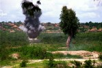 FAA (Forca Armada Angolana) soldiers detonate anti tank mines during a training exercise at the advanced command post military base in preparation for deployment to the front. After several failed peace initiatives the government mounted a major offensive against UNITA in the eastern province of Moxico in an attempt to end decades of civil war by military means.Luena, Angola.Photo © J.B. Russell