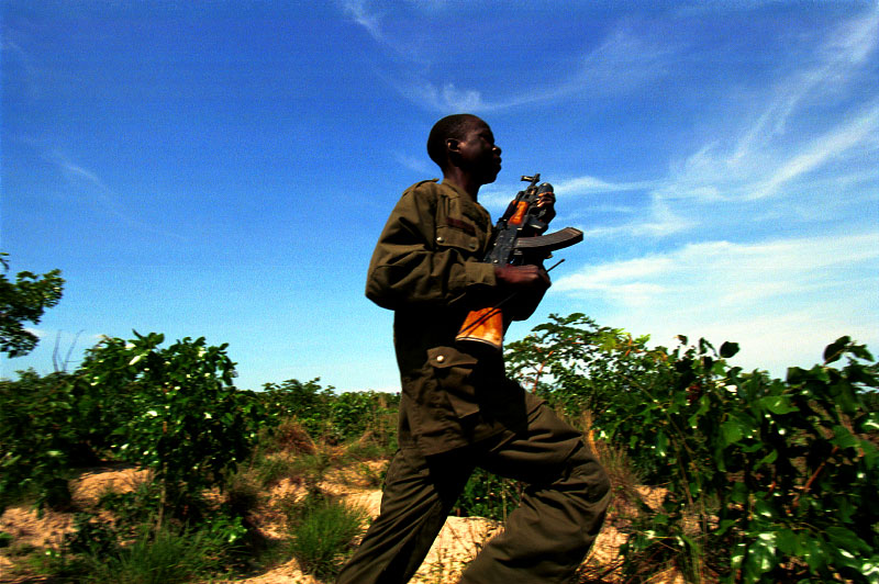 A FAA (Forca Armada Angolana) soldier during military operations against UNITA rebels. Following several failed peace initiatives, the government mounted a major offensive against Jonas Svimbi's UNITA in the eastern province of Moxico in an attempt to end decades of civil war by military means.Luena, Angola.Photo © J.B. Russell