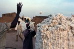 Cotton farmers pile up their harvest into large bails to be weighed and registered at a village staging area before being transported to a SOFITEX ginning plant.Padema, Burkina Faso.Photo © J.B. Russell