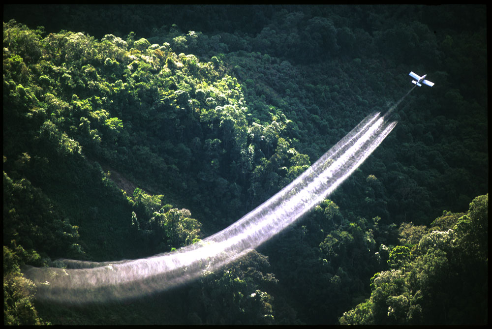 Aerial fumigation of coca and poppy plantations by the anti narcotics forces of the Colombian military in the mountainous southwestern region of Tolima.Chapparral, Colombia.Photo © J.B. Russell