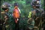 Special narcotics forces (UMOPAR) on a jungle patrol question a coca farmer.  El Chapare, in Bolivia's central lowlands, is the country's principle coca producing region and the heart of the war on drugs.El Chapare, Bolivia.Photo © J.B. Russell