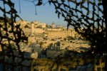 The Tomb of the Patriarchs (Ma'arat HaMachpela) seen from an Israeli military observation post overlooking the Jewish community in Hebron. Approximately 600 Jewish settlers live in the historic center of the city which has a Palestinian population of more than 160,000.Hebron, Israeli Occupied Palestinian Territories.Photo © J.B. Russell