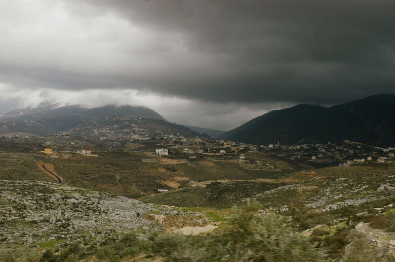 The mountainous landscape along the border between Lebanon and Israel ,contaminated with cluster sub-munitions left over from the 2006 Hezbollah - Israel war.Arab Salim, Lebanon.Photo © J.B. Russell