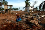 A resident of the coastal fishing village Hambantota clears a space to erect a tent in the devastated town center.Hambantota, Sri Lanka.Photo © J.B. Russell